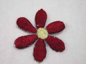 Maroon w Gold Daisy Embroidered Iron On Patch 1.25 In