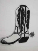 White Black Cowboy Boot Iron On Patch 3.75 In
