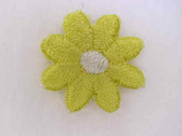 2 Yellow White Daisy Embroidered Iron On Patch .68 In