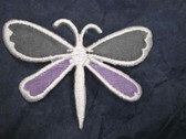 Lilac Grey Sheer Dragonfly Iron On Applique Patch 2.25 In