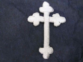 Christian Gothic Cross Iron On Patch White 1.25 In
