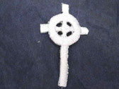 2 Celtic Gothic Cross Iron On Patch White 1.25 In