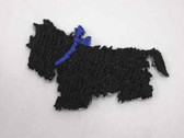 Black Scottie Scotty Blue Ribbon Iron On Patch 1 In