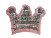 Pink Silver Crown Princess Crest Embroidered Iron On Patch Applique