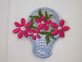 Blue Basket Pink Yellow Flowers Iron On Patch 1.25 In