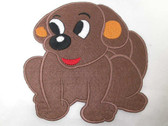 "5"" Cute Brown Puppy Dog Embroidered Iron On Patch"