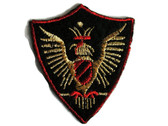 Rampant Eagle Triangular Crest Embroidered Iron On Patch Applique 2.5 Inch