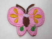 Pink Yellow Green Butterfly Iron On Patch 1.38