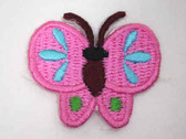 Pink Blue Green Butterfly Iron On Patch 1.38