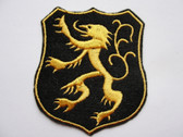 Heraldic Lion Black Shield SCA Iron On Patch