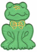 Fat Satin Frog Embroidered Iron On Patch Applique 4 In