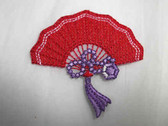 Red Purple Lace Fan Embroidered Iron On Patch 2.50 Inches