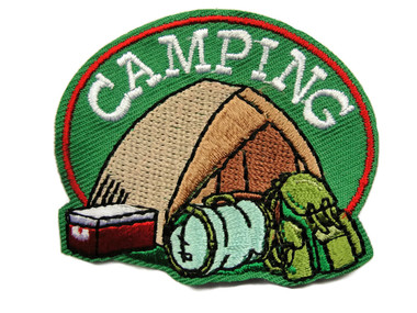 Camping Backpack Bedroll Cooler Tent Embroidered Iron On Patch Applique