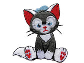 Wide Eyed Gray Sitting Kitten Cat Embroidered Iron On Patch Applique