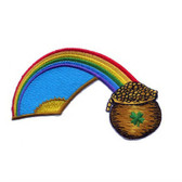 Irish Rainbow Pot Of Gold Shamrock Iron On Patch 4.25