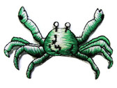 Green White Crab Embroidered Iron On Patch 2.5 Inches