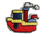 Childs Cartoon Red Blue Tug Boat Embroidered Iron On Patch 1.68 Inch