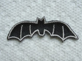 Black Halloween Bat Embroidered Iron On Patch 2 In