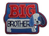 Big Brother Puppy Blue Applique Embroidered Iron On Patch 4 Inches