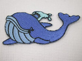 Happy Blue Whale Iron On Applique Patch 2 In