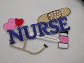 Nurse Band Aid Hearts Embroidered Iron On Patch 3.75 In