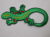 Green Gecko Lizard Embroidered Iron On Patch 3 Inch