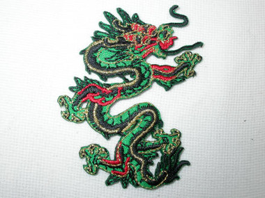 Oriental Dragon Green Red Iron On Patch 3 Inch