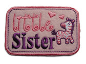 Little Sister Giraffe Pink Applique Embroidered Iron On Patch 3.38 Inches