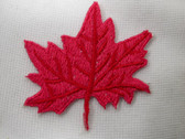Red Maple Leaf Embroidered Iron On Patch 2 In