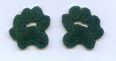 Pair Black Paw Print Embroidered Iron On Patches .75 In
