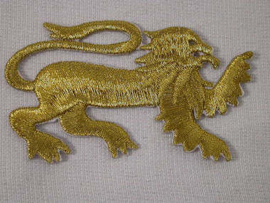 Gold Metallic Heraldic Lion Iron On Patch Right