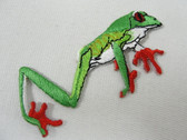 Green Orange Tree Frog Exotic Iron On Applique Patch