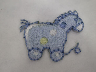Baby Blue Pony Horse Embroidered Iron On Patch 1 In