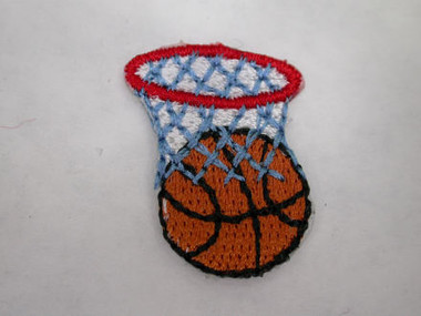 Basketball with Net Iron On Patch Applique 1 In