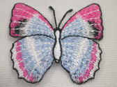 Pink Blue White Natural Butterfly Iron On Patch 1.75 In
