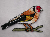 Bird Finch Red Brown Black Iron On Patch 1.5 In