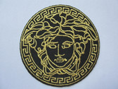 Greek Goddess Image Gold Metallic on Black Iron On Patch