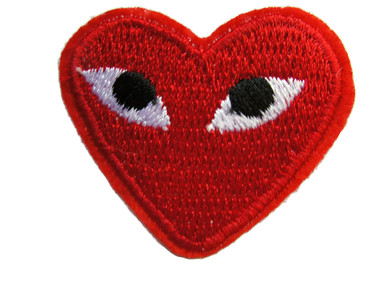 Red Heart with Eyes Iron On Applique Patch 1.75 Inches