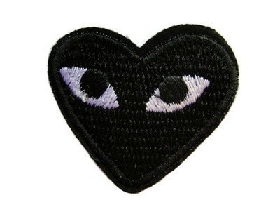 Black Heart w Eyes Iron On Applique Patch 1.75 Inches