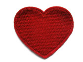 Red Heart Embroidered Iron On Patch 2.25 Inches