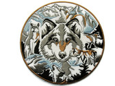 Wolf Head Face Pack Emblem Applique Embroidered Iron On Patch 5 Inch Round