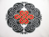 Black Red Embroidered Iron On Oriental Emblem 7.5