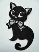 Elegant Large Eyed Black Cat With White Bow Embroidered Iron On Patch 4 Inches