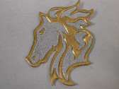 Gold Silver Horse Head Vinyl Iron On Applique Patch 3 Inch
