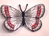White Silver Red Butterfly Iron On Patch 1.5 In