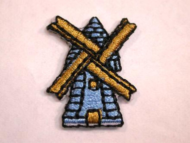 Dutch Windmill Embroidered Iron On Patch 1 In