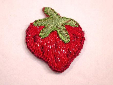 Strawberry Luster Accent Embroidered Iron On Patch