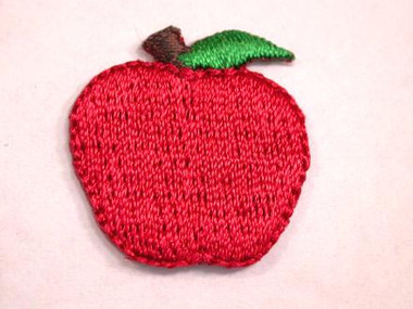 Red Apple w Stem Embroidered Iron On Patch .88 In