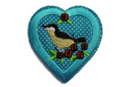 Bird in Blue Heart with Flowers Embroidered Iron On Patch Applique 2.25 Inch