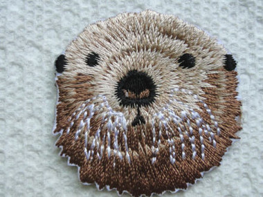 Sea Otter Face Embroidered Iron On Applique Patch
